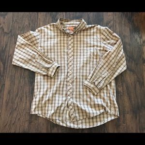 xl Ben Sherman beige / brown / white plaid shirt